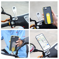 Scooter Mirror Mount Phone Holder Motorcycle Rear View Mobile Phone Stand with Protective Case for iPhone 6/6S/7