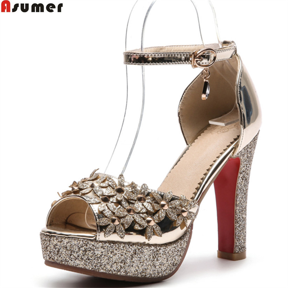 ASUMER pink gold silver fashion summer ladies wedding shoes woman peep toe buckle flowers super high