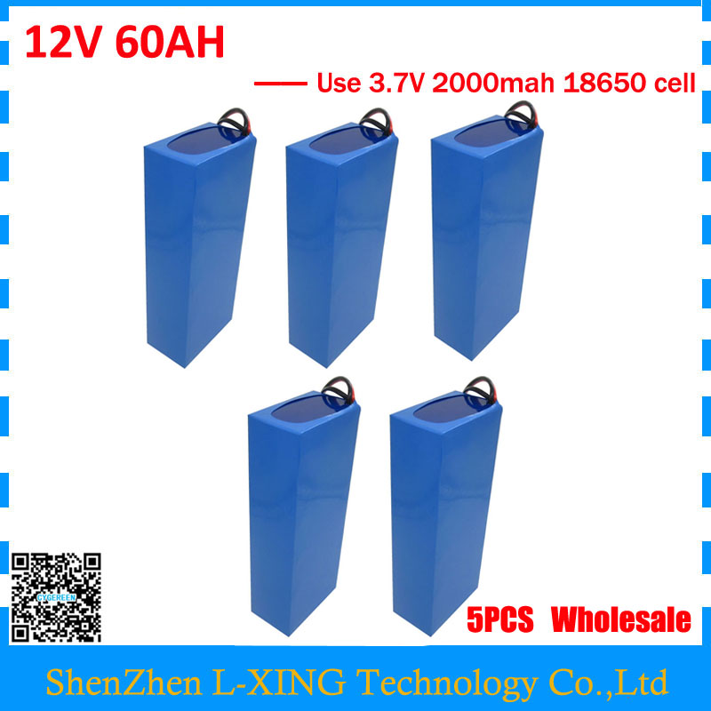 Wholesale 5pcs/lot 12V 60AH battery 12 V 60AH 60000MAH Lithium ion battery 30A BMS for 12V 3S Battery 5A charger image