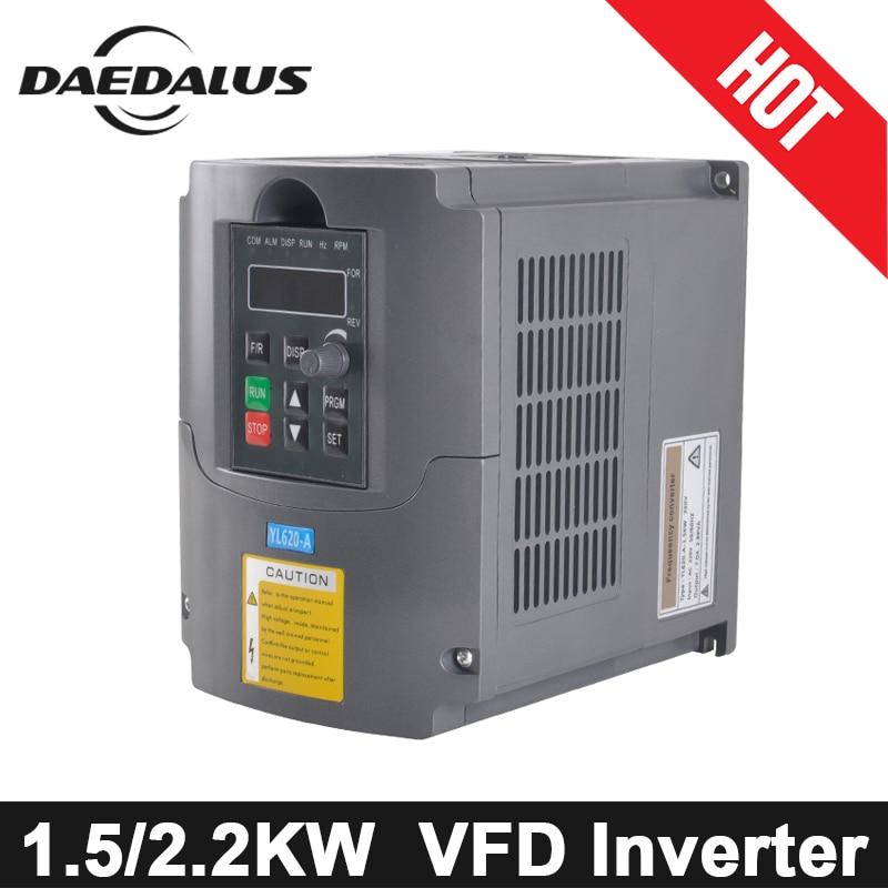 2.2KW/1.5KW CNC VFD variateur de fréquence 220 V convertisseur inverseur monophasé entrée pour Machine à graver