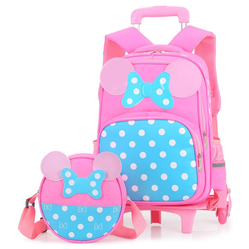 2PCS sets Girls Trolley Rolling Backpack Climb the stairs school bag children Detachable waterproof backpack travel