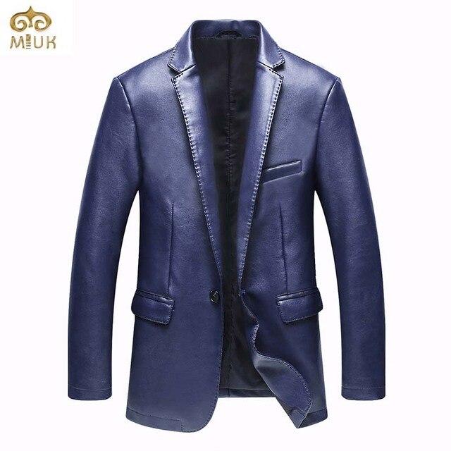 Miuk 2017 mens de la marca de moda chaqueta de cuero casual traje slim fit Chaquetas de la chaqueta Azul Hombres Terno Abrigo masculino Más Tamaño XXL XXXL
