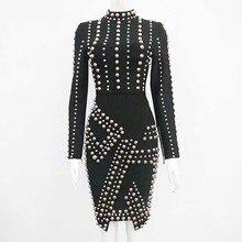 2019 New bandage dress black Beading Long sleeves Fashion luxury Stretch tight celebrity Cocktail party bandage dress (H1901)