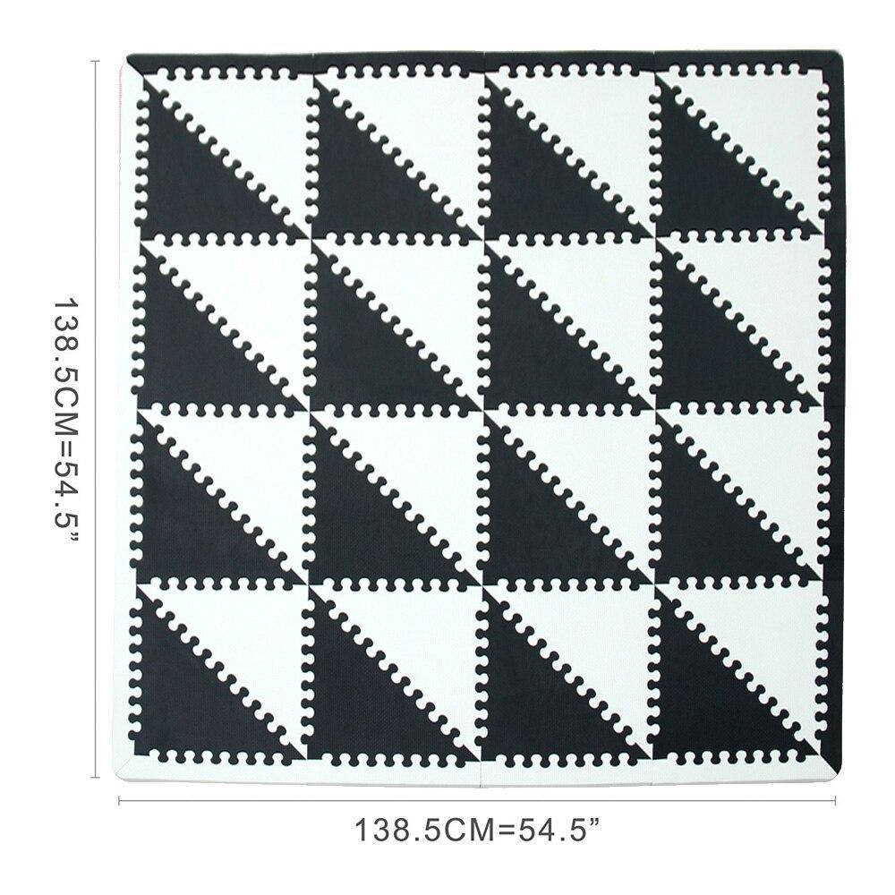 MQIAOHAM bébé EVA mousse puzzle tapis de jeu/entrelacement exercice tapis de sol carreaux, tapis pour enfants triangle 35 CM * 1 CM noir blanc - 3