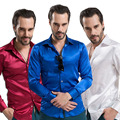 Новый смокинг рубашки мужчины, 12 цвет шелковый мужчины твердые длинным рукавом рубашка с запонками, camisas hombre camisetas masculinas