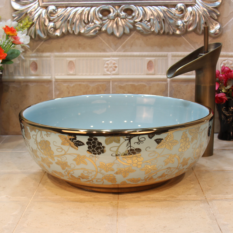 Chinese Cloakroom Counter Top Porcelain Wash Basin Bathroom Sinks Ceramic Art Hand Painted Wash Basins