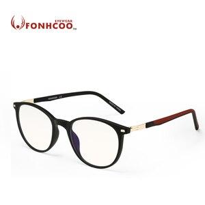 FONHCOO Elegante TR Óculos de Armação Mulheres Rodada Optical Gaming Computer Óculos Anti Luz azul Bloqueio Óculos Anti fadiga ocular