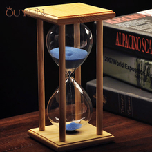 OUYUN Household Items Glass Sandglass Wood,Wedding Hourglass Sand Timer 30 Minute Office Decor Desk Accessories 7 Colors sale