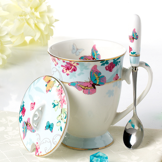 Joyous Style Butterfly Floral Pattern Ceramic Gold Plated Coffee Mug Spoon  Saucer Double Layer Fruit Tray