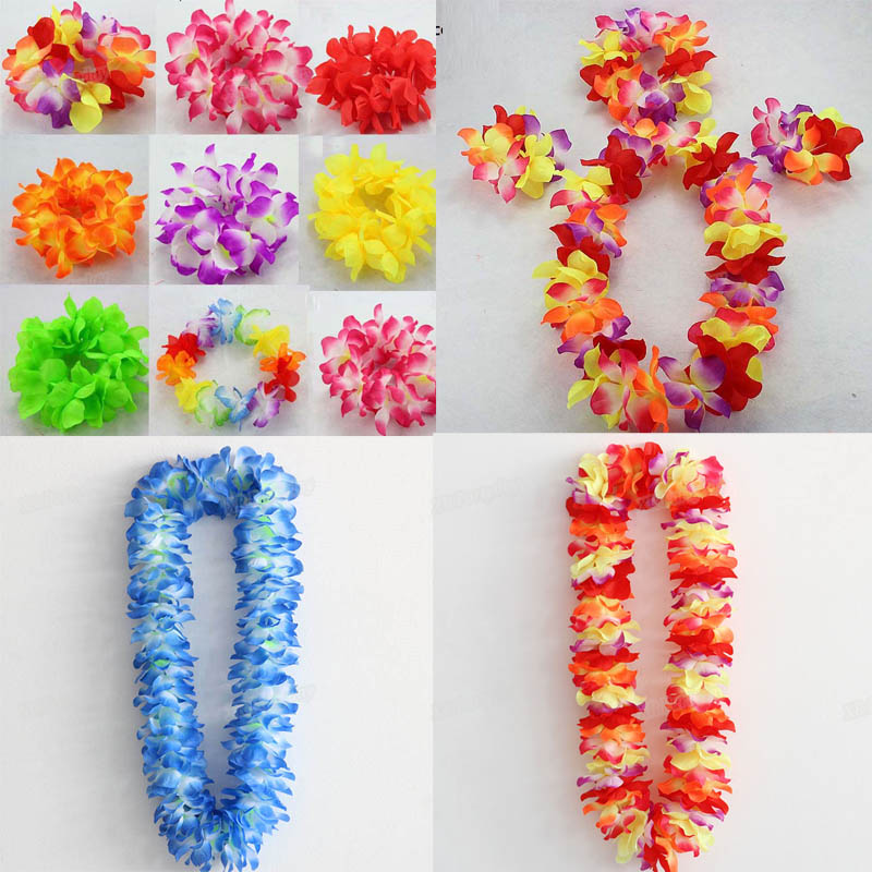 Toy Cubby Party Hawaiian Flower Leis Necklace and Bracelet Make Your own Craft Set 12 Pack