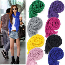 2015 New Silk Scarves Solid color shawls all-match women's ultra long brand scarf candy color cape female scarves headband