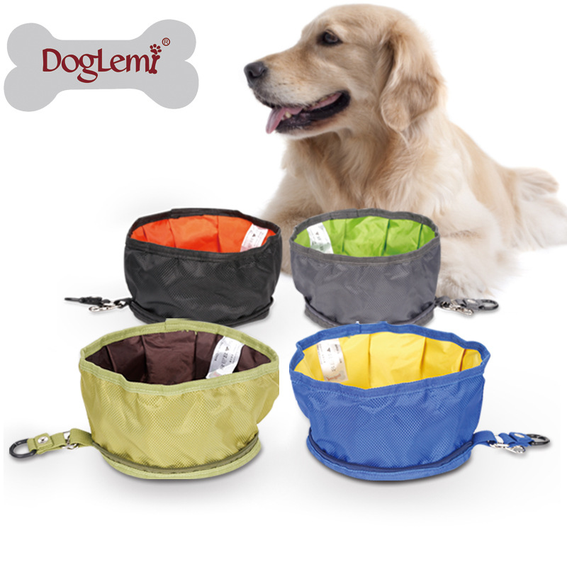 Foldable Dog Water Bowl Food Storage Bag Pet Snack Tray Beverage Waterproof Polyester Travel Camping Feeder