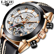 купить LIGE Men Watches Business Fashion Automatic Watch MenTourbillon Leather Waterproof Wristwatch Top Brand Luxury Relogio Masculino дешево