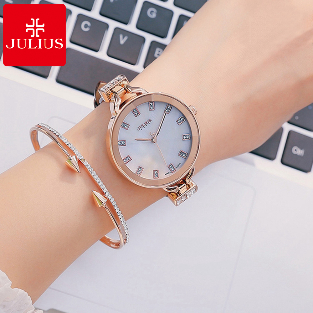 2017 Hot Women Dress Austrian Rhinestone Watches Fashion Casual Quartz Watch Leather Wristwatch Gift Luxury Julius 498 Clock Tag rolsen resc 51s