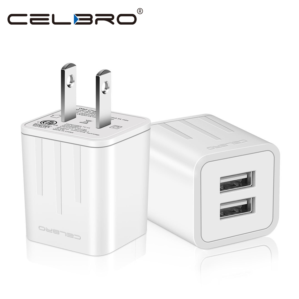 2.1A Dual Port USB Charger Plug for Apple iPhone iPad Mini 2 3 4 Air 2 Airpods 12W Original Small USB Wall Charger US Plug 2A 1A 7