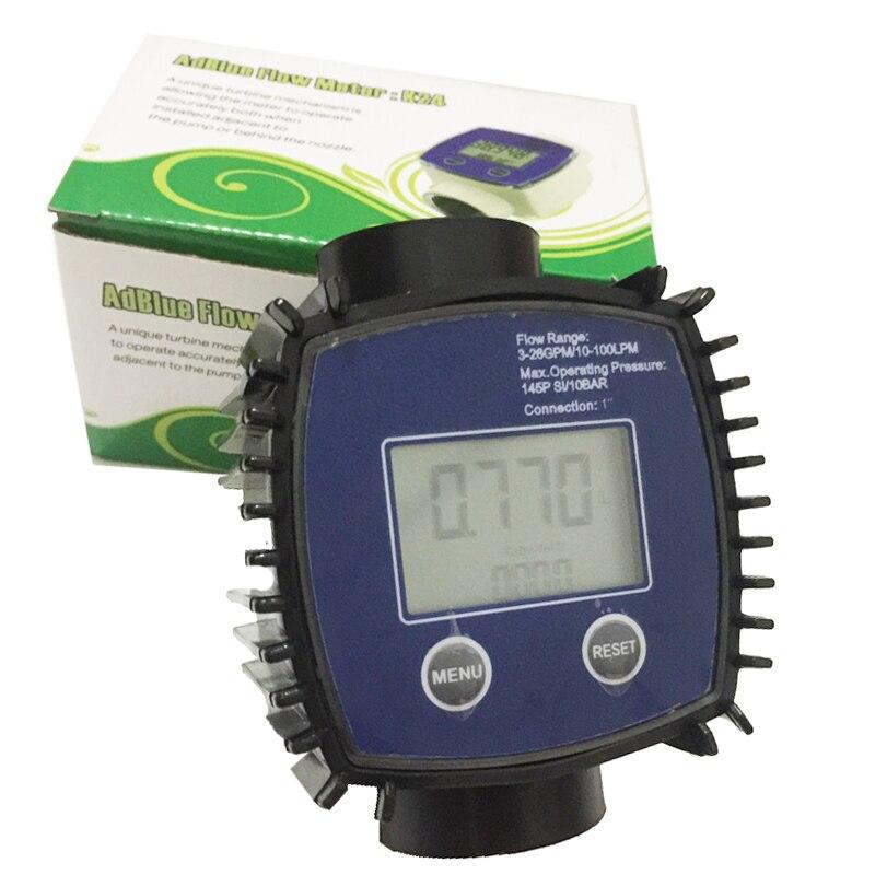K24 Digital turbine flow meter water/methanol / diesel / petrol chemical liquid 1 inch stainless steel screw water flowmeter