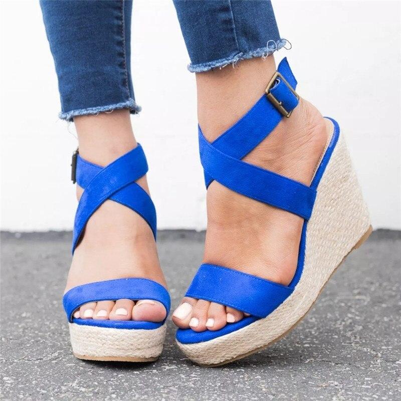 Leopard Wedge Sandals Summer Peep Toe Flock Buckle Strap Women Platform Espadrilles Sandal Plus Size 43 High Heels Shoes Female  (9)