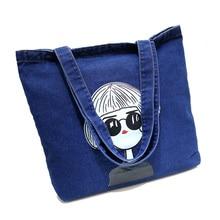 Fashion Jean Design Women Handbag Durable Cotton Dinem Top-Handle Handbag Portable Vintage Women's Shoulder Bag Shopping Bag