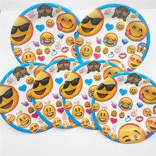 6pc/set emoji plates kids birthday party supplies paper dishes happy wedding decoration baby shower tableware favors