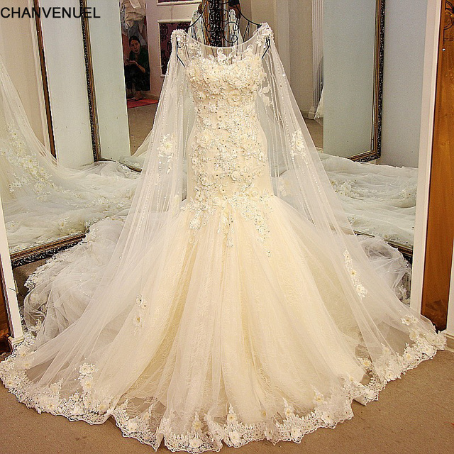 LS54821 Luxury Mermaid Wedding Dresses Princess with Long Cape Lace ...