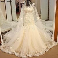 LS54821 Luxury Mermaid Wedding Dresses Princess with Long Cape Lace Mermaid Tail Corset Back Robe De Mariee Sirene Real Photos
