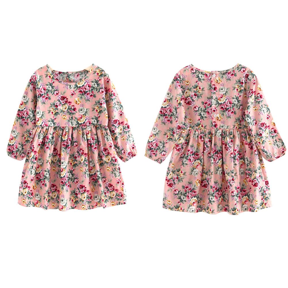 Baby Girl Clothes Pretty Girls Dress Lovely Floral Print Long Sleeve Flower Kids Dress Princess Dresses Spring Autumn 2 Colors in Dresses from Mother Kids