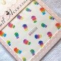 100 unids/lote envío gratis BBLE2215-2225 marca de agua pegatinas de plumas de colores con tarjeta de papel