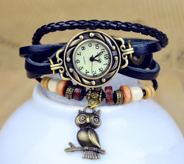 Hot Sales Vintage Owl Pendant Cow Leather Watch Women Ladies Dress Quartz Wrist