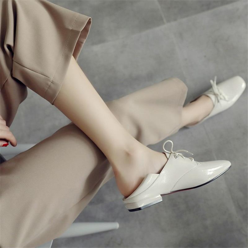 En Chaussures Beige Mocassins Oxford Cuir Mode Lace Femmes Automne Les black Nouveau Up Verni Appartements Arrivent Pour dZftxwR