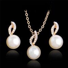 MISANANRYNE Imitation Pearl Necklace Earrings Wedding Jewelry Sets Fashion Crystal Bridal Jewellery Set for Women Bridal