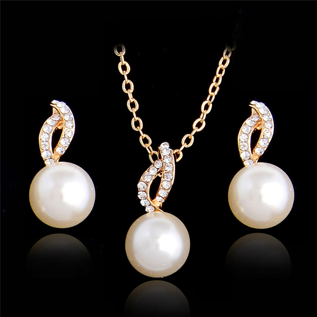 f37c4a8947 MISANANRYNE Imitation Pearl Necklace Earrings Wedding Jewelry Sets Fashion  Crystal Bridal Jewellery Set for Women Bridal