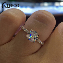 CUTEECO Fashion Simple Design Silver Brand Rings For Women Jewelry Dream Bridal Wedding & Engagement Ring Bijoux Gift стоимость