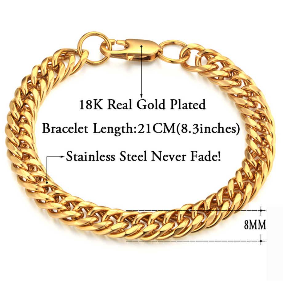 cfa609e3536d ... Pulsera de los hombres de oro de acero inoxidable Cadena de pulseras y  brazaletes para hombres ...