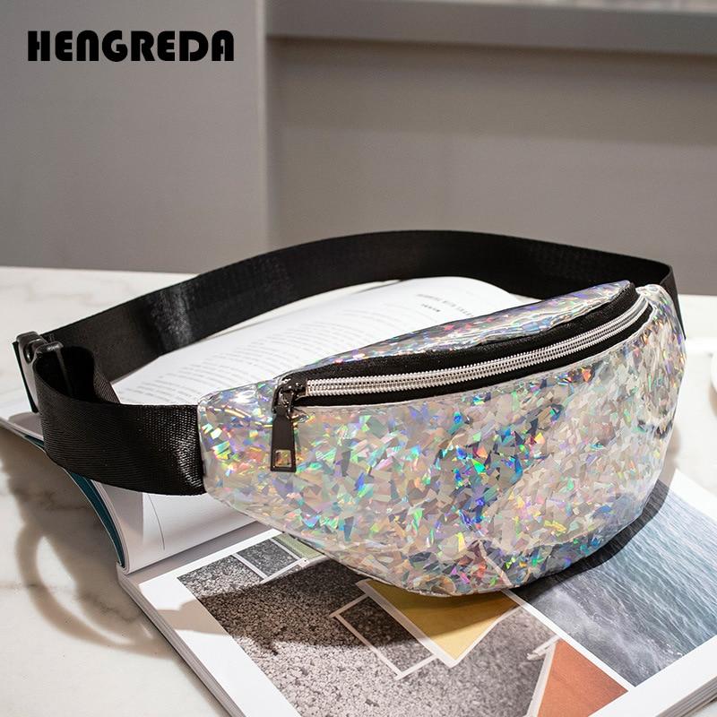 9b89508fdf US $2.39 |Women Holographic Waist Bag 2018 Laser Fanny Pack Travel Beach  Shiny Bum Bag Hengreda Fashion Hologram PVC Belt Bag -in Waist Packs from  ...