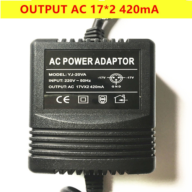 Mixer power adapter AC Output 17V*2 420mA 18V canbe used 3 pin plug output free shipping