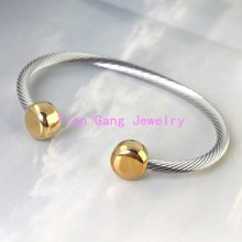 Fine Jewelry 316L Stainless Steel Silver Gold Cuff Bangle Women's Fashion Bracelets, Stainless Steel Twisted Wire Bangles