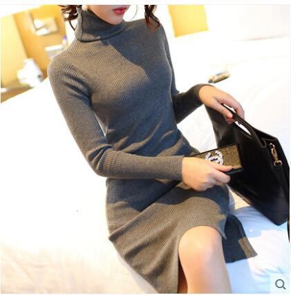 2017 New Women Autumn Winter Turtleneck Sweater Dresses Slim vestidos de festa Sexy Bodycon Solid Robe Long Knitted Office Dress