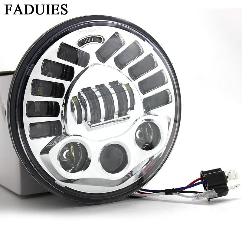 """FADUIE Adaptivní chrom 7 """"LED projekční světlomet Led světlomet H4 High Low Beam pro Harley Touring LED světlomet"""