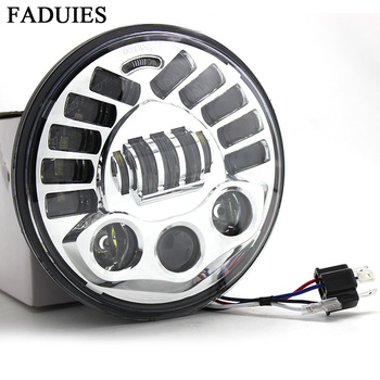 "FADUIES Adaptive Chrome 7"" LED Projection  Headlight Led Headlight H4 High Low Beam For Harley Touring LED Headlamp"