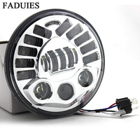 Oferta FADUIES adaptable Chrome 7 proyección Led faro LED H4 alto bajo haz para Harley Touring Led faro