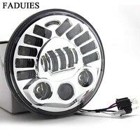 Oferta FADUIES de cromo 7 de proyección LED faro Led faro H4 alta baja y haz para Harley Touring LED faro