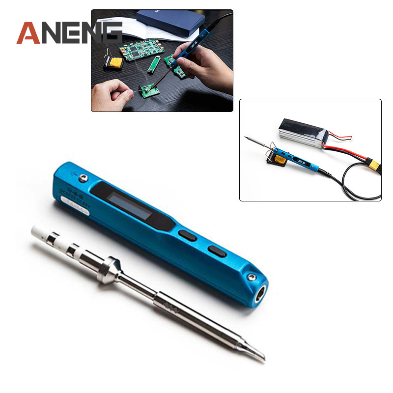 Quality Stylish 1 Set Mini Portable 65W Programmable TS100 Electric Soldering Iron Digital LCD Easy-dismount design space saving