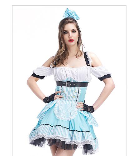 Sexy Blue  Maid Costume Adult Womens Alice in Wonderland Costume Halloween Fancy Party Dress