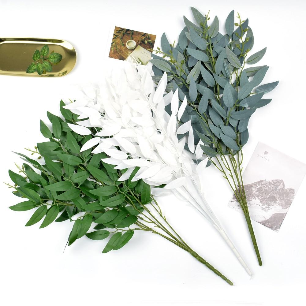 1 шт. искусственная ива букет поддельные листья для украшения дома свадьбы ивовые лозы искусственные листва растения венок