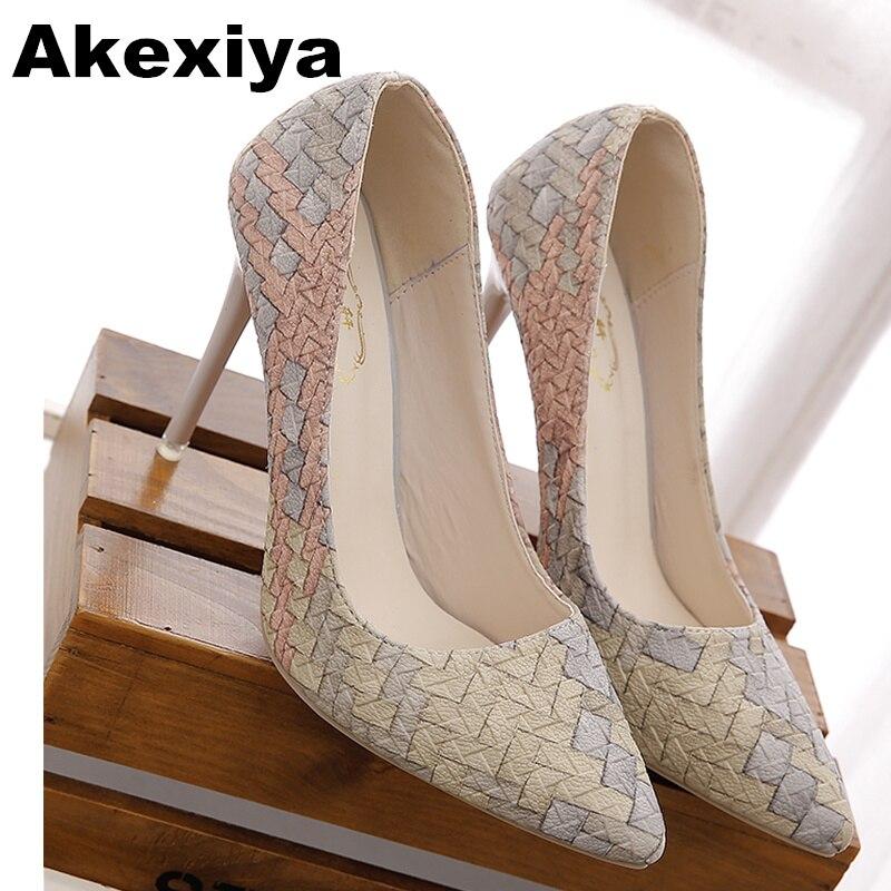 Akexiya 2017 Women Shoes Pointed Toe Pumps Patent Leather Dress High Heels Boat Shoes Wedding Shoes tenis feminino 10cm/4cm avvvxbw 2017 pumps high heels shoes woman pointed toe patent leather wedding shoes sexy thin heels shoes sapatos feminino c512
