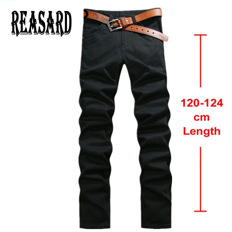 Tall Man 120cm Extra Long Jeans Mens Plus Size 28-44 Black Stretch Twill Pants Classic Jeans Trousers Casual Pants