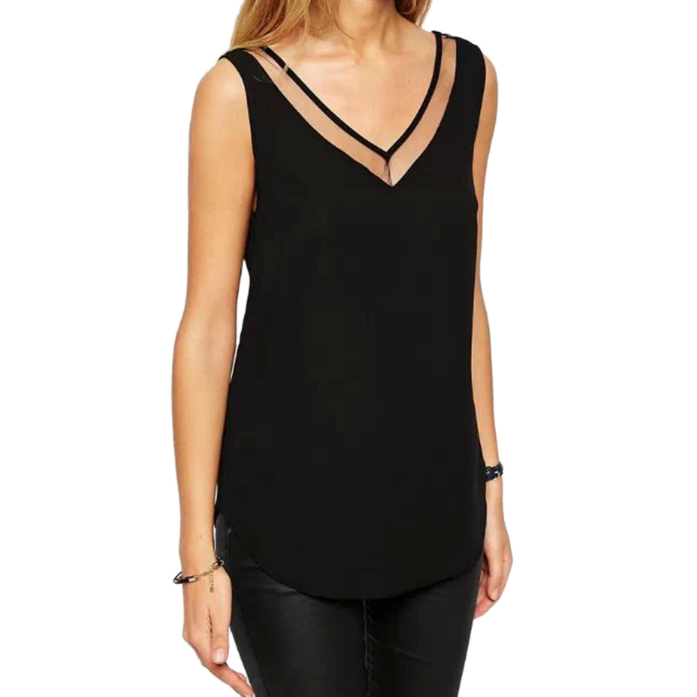 Tops Women Camisole T-Shirt Chiffon-Vest Casual-Tank Summer Sleeveless Mesh Bottom Sheer