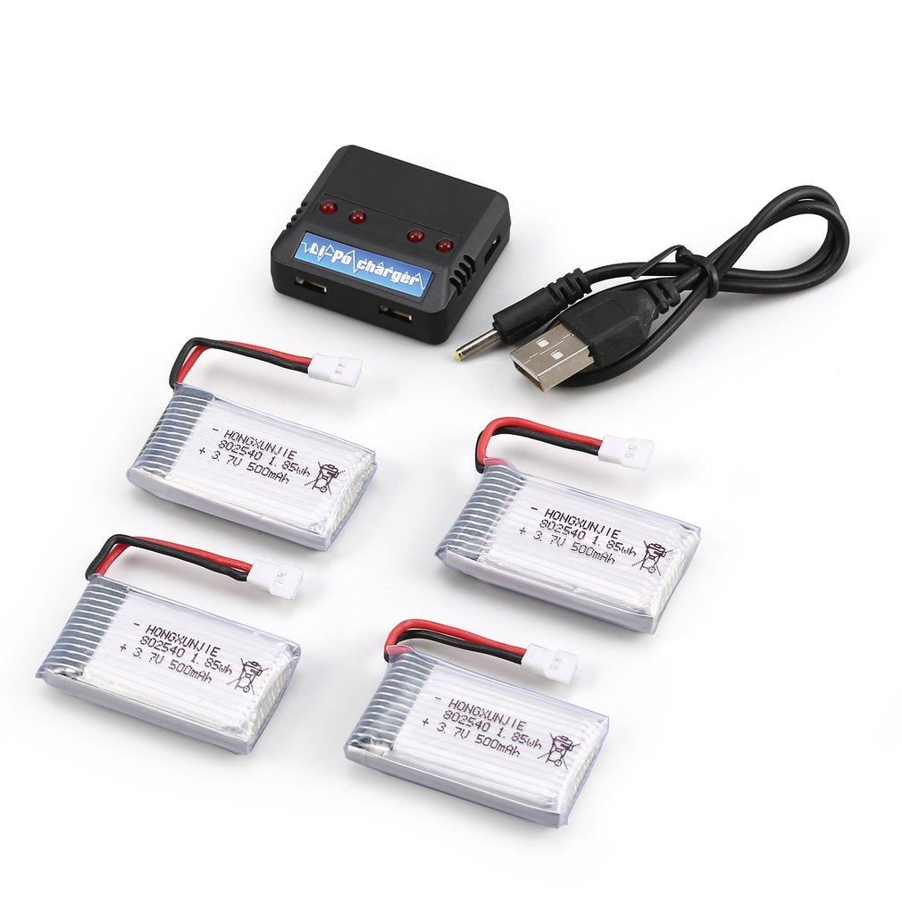4Pcs <font><b>3.7V</b></font> <font><b>500mAh</b></font> RC <font><b>Battery</b></font>+4 in 1 USB Charger for Syma X5 X5C X5SC X5SW MJX X705C RC Drone Quadcopter Spare <font><b>Battery</b></font> Hobby Parts image
