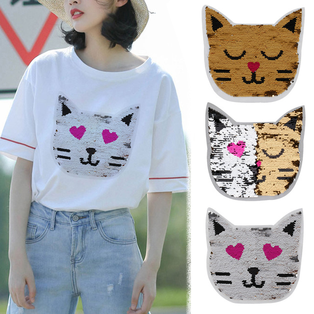 d1cc16a269 1PC Cute Cat Reversible Color Changing Sequins Sewing on Patch Clothes DIY  Applique Clothing Jeans Craft