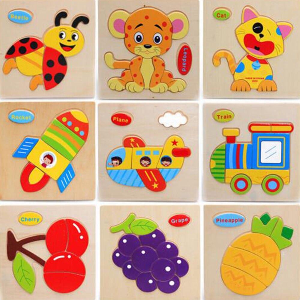 Игрушки для маленьких детей 3d стерео головоломки мультфильм Животные Tangram ребенка развивающие подарок